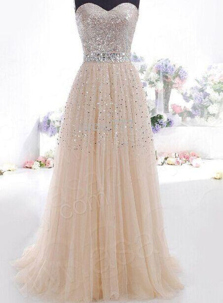 Beige Sequin Strapless Bandeau Prom Dress