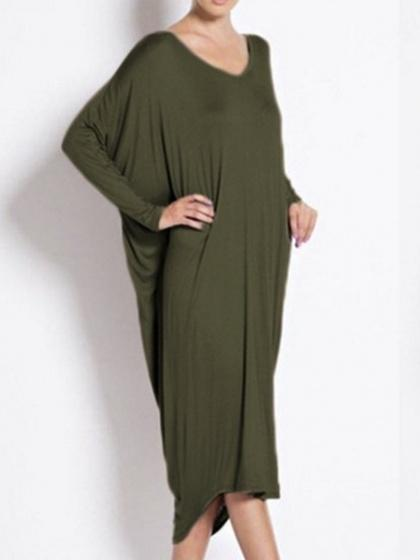 Army Green V Back Long Sleeve Midi Dress
