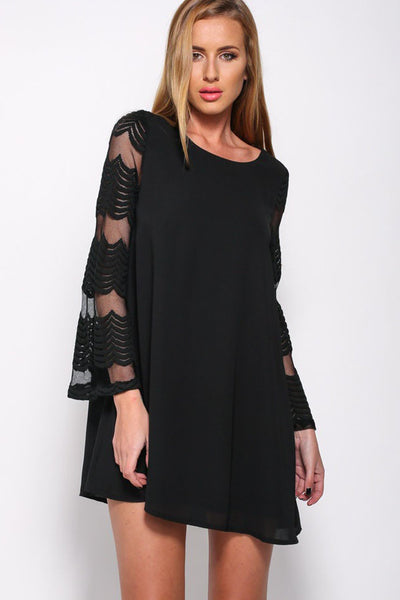 Loose Mesh Chiffon Patchwork Long Sleeveses Short Dress