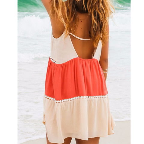 Spaghetti Strap Loose Sleeveless Beach Short Dress