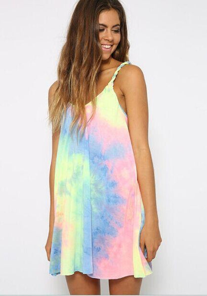 Fancy Tie Dye Print Cami Shift Dress
