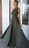 Gray Versatile Crossover Prom Maxi Dress