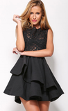Black Sleeveelss Layered Skater Dress