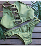 Olive Green Lattice Front Halter Bikini Suits