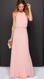 Baby Pink Cold Shoulder Halter Chiffon Maxi Dress