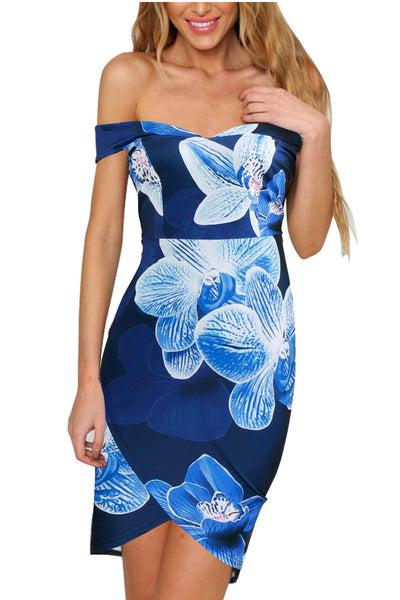 Print Off Shoulder Strapless Irregular Short Dress