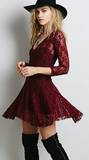 Burgundy Lace V Neckline Skater Dress