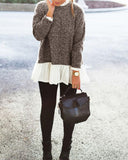 Contrast Frill Neck And Hem Sweater