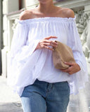 Ruffle Off the Shoulder Bell Sleeve Oversized Bardot Top