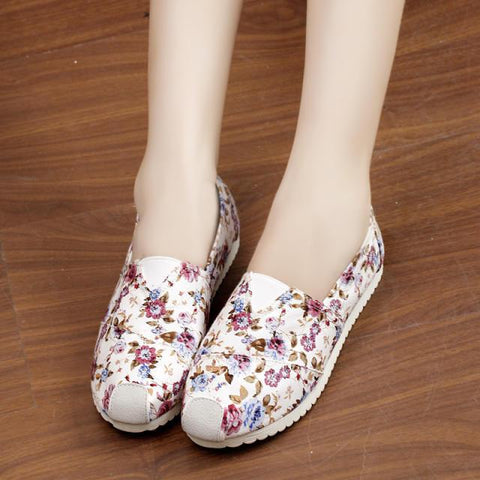 Casual Slip On Print Canvas Sneakers