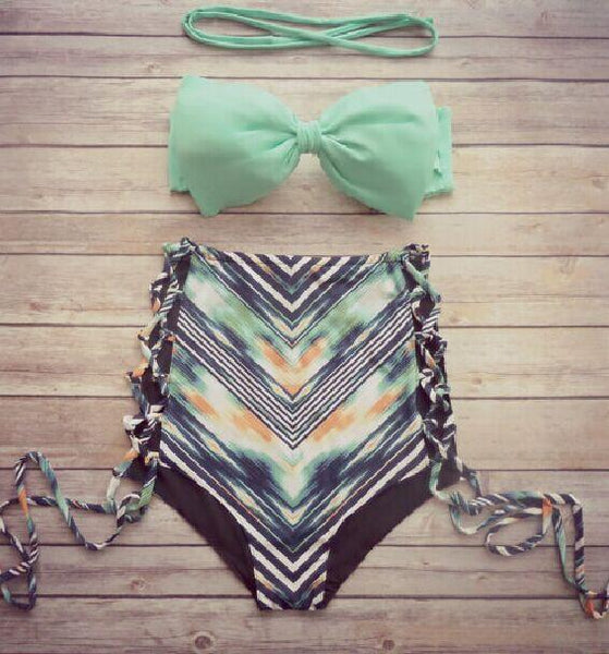 Mint Green Bowknot Bandeau Top High Waist Bikini Bottom
