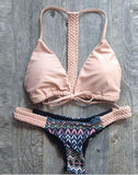 Pink Braided Back Triangle Bikini Suits