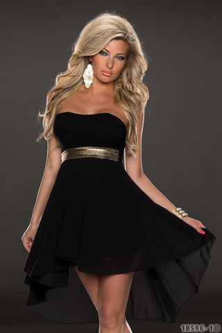 Black Strapless Bandeau Hi-Lo Prom Dress