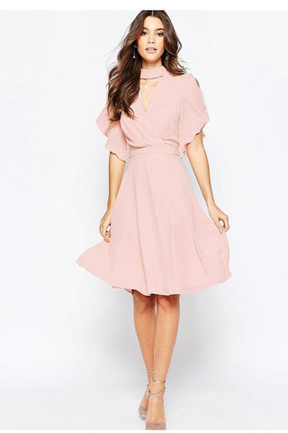 Ruffles Cut V-neck Empire Chiffon Knee-length Dress