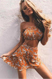 Floral Print Strapless Crop Top with Ruffles Skirt Two Pieces Dress Set