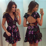 Backless Deep V-neck Flower Print Flared Short Dress