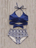Dark Blue Halter Cross Strap Bikini Top And Bottom Bikini Set