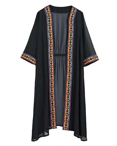 Black Geometry Embroidery Side Folk Kimono