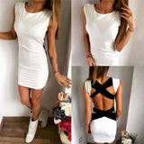 2017 Bandages Hollow Out Sleeveless Short Backless Dress