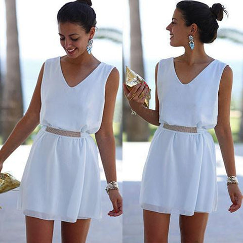 V-neck Pure Color White Chiffon Short Squins Belt Dress