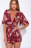 Feminism Red Floral Plunging Rompers