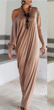 Graceful Off the Shoulder Knit Long Maxi Dress