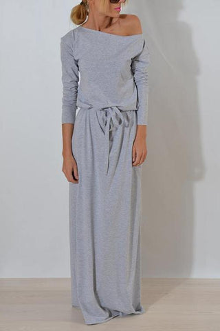 Dew Shoulder Grey Floor length Dress