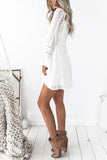 V Neck Flared Sleeves Dot White  Mini Dress