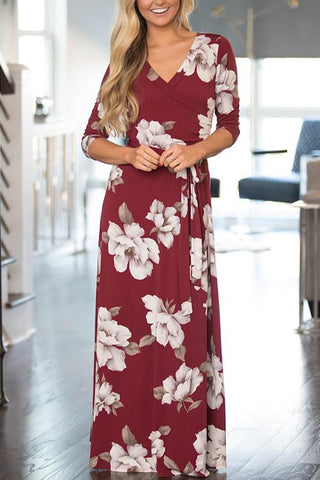 Back Garden V-Neck Flower Maxi Dress