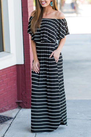 Bateau Neck Stripe Maxi Dress