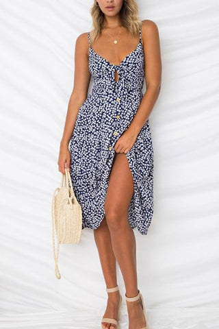 V Neck Bowknot Adornment Printed Mid Calf Dress