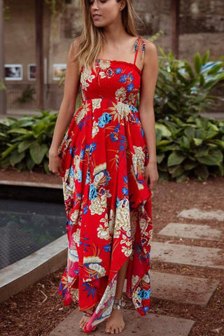 Asymmetrical Floral Ankle Length Dress