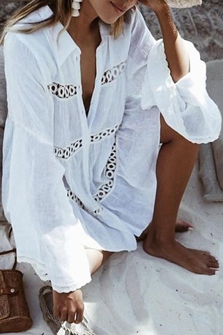 Casual Hollowed-out White Cover Ups