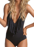 Black One Piece Flounce Plunging Monokini Swimsuits