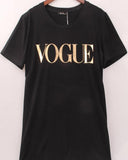 Black Rolled Sleeve Vogue Slogan Print T-shirt