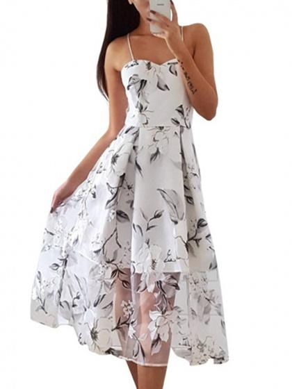 White Spaghetti Strap Floral Print Sheer Mesh Midi Dress