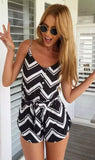 Black Chevron Print Cami Rompers Playsuits