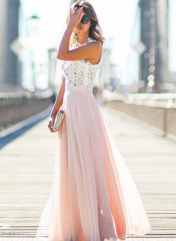 Pink Sleeveless Lace Chiffon Maxi Dress