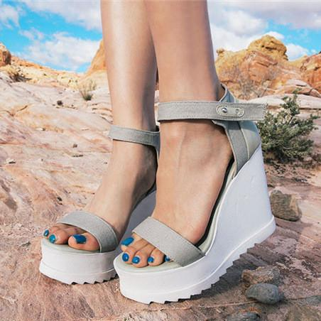 Fashion High Heeled Platform Canvas Wedge Sandals