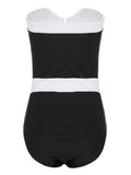 Black Contrast Strapless Bandeau Swimsuit