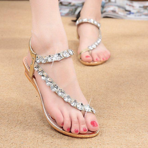 Shinning Crystals Flip-flops Ankle Wrap Flat Beach Sandals