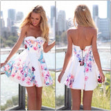 Sleeveless Scoop Strapless Print Short Dress