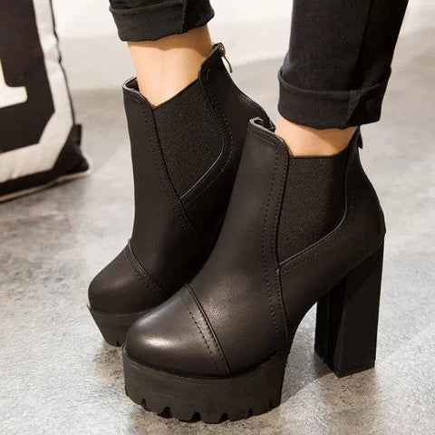 Round Toe Platform High Chunky Heels Short Boots