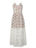 White Spaghetti Strap Crochet Lace Midi Dress