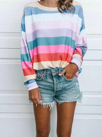 Polychrome Stripe Crew Neck Long Sleeve Women Sweatshirt
