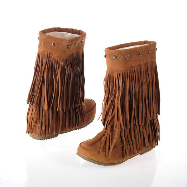 Increased Long Tassel Rivet Fashion Boots