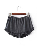 Basic Elastic Waist Frilled Hem Shorts