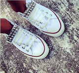 Hot Style White Rivet Canvas Lovers Sneakers Shoes
