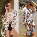 Batwing Shawl Long Sleeve Beach Cover Up Dress