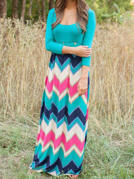 Blue Contrast Chevron Print 3/4 Sleeve Boho Maxi Dress